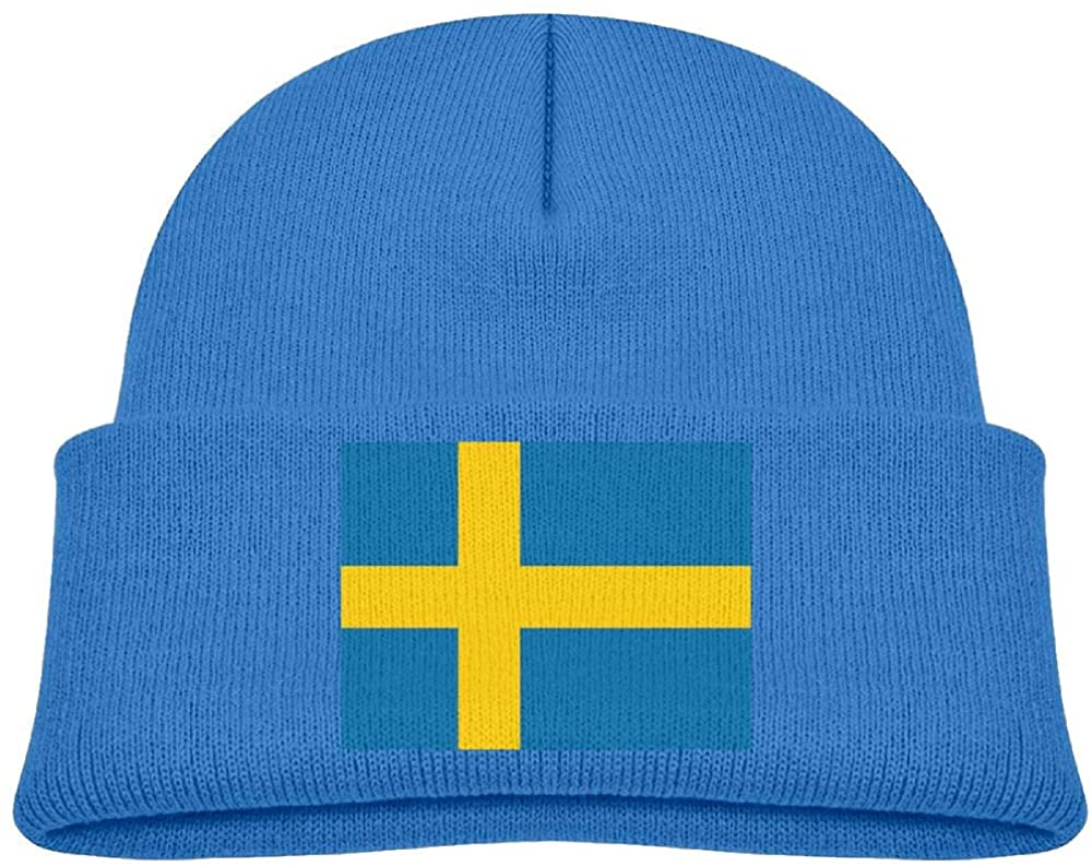 lead-do Baby Boys Girls Flag of Sweden Kint Beanie Hats Toddler & Kids Winter Warm Kinted Caps(2-6T)