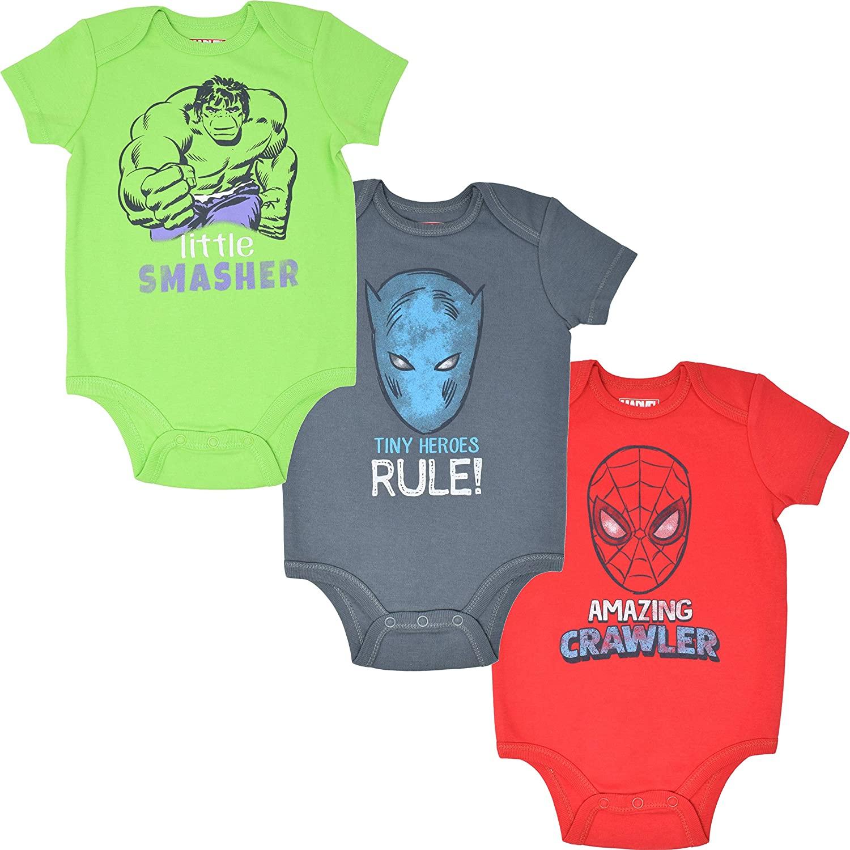Marvel Avengers Baby-Boys Short Sleeve 3 Pack Bodysuits