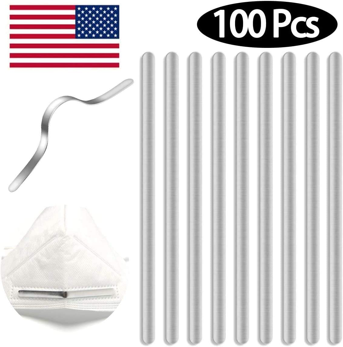 Nose Bridge Strips for Mask, 100 Pieces Aluminum Strips Nose Wire, Adjustable 90MM Metal Flat Nose Clips Wire for DIY Face Mask Making Accessories (100)