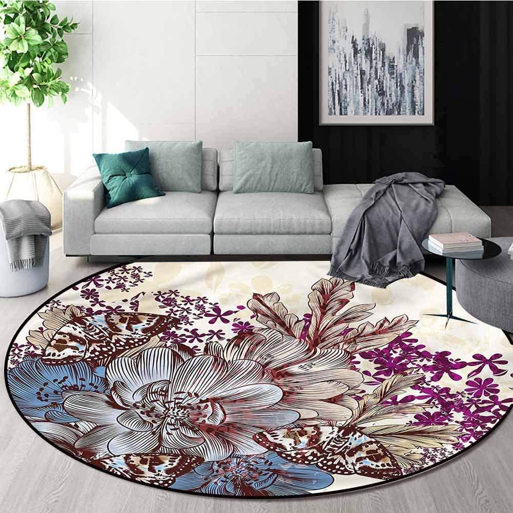 RUGSMAT Floral Small Round Rug Carpet,Pastel Colored Butterflies Home Decor Foor Carpet Diameter-63