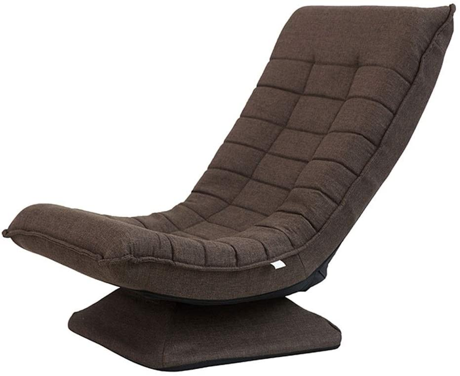 HELLEN 360 Degree Swivel Folding Floor Gaming Chair Adults, Comfortable Padded Backres, Great for Home, Office, Dark Brown Z-2020-6-29