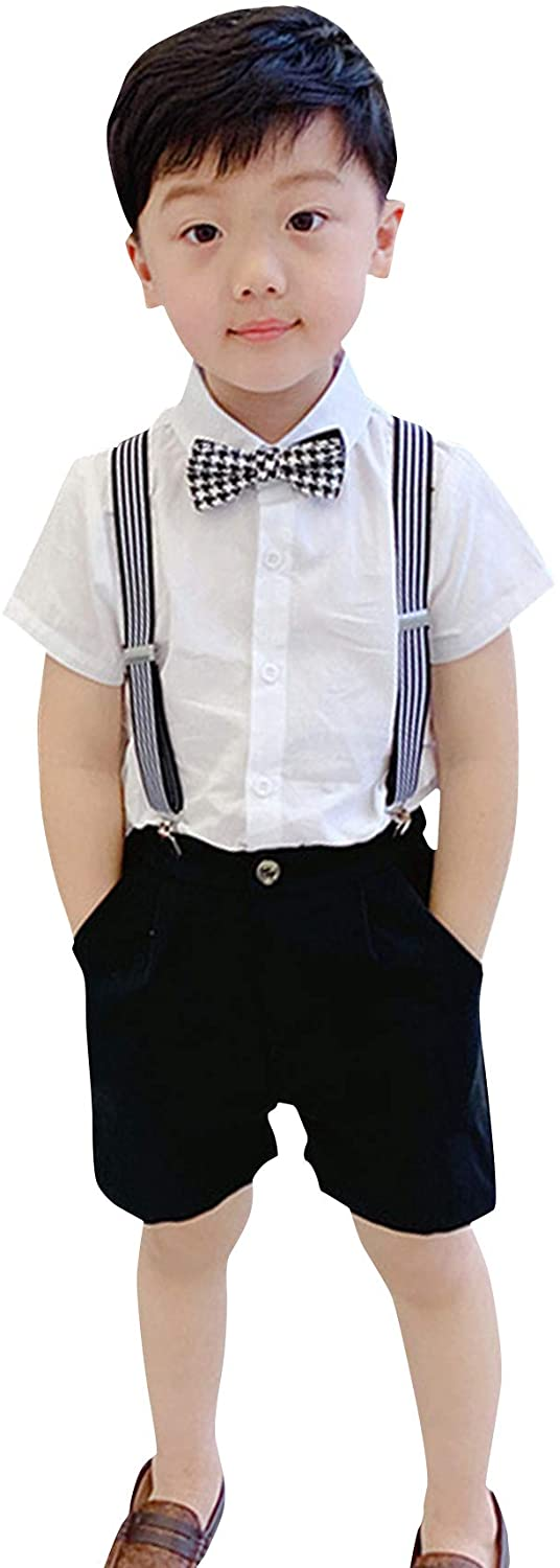 La Vogue Toddler Boys Two Pieces Gentleman Outfits Set Short Sleeve Shirt+Suspender Shorts