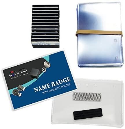24 Sets of DIY Magnetic Name Badges w/CMS Magnetics 3Mag-1 Badge Magnets - Top Loading Premium Plastic Badge Holders (2-1/2 x 4) - Reusable