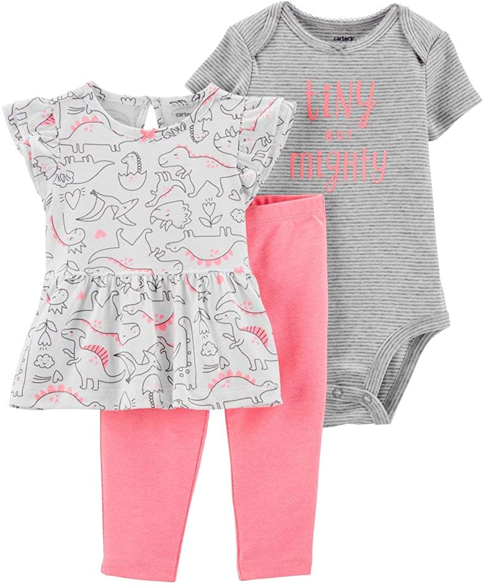 Carter's Baby Girls' 3-Piece Dinosaur Pant Set- Pink