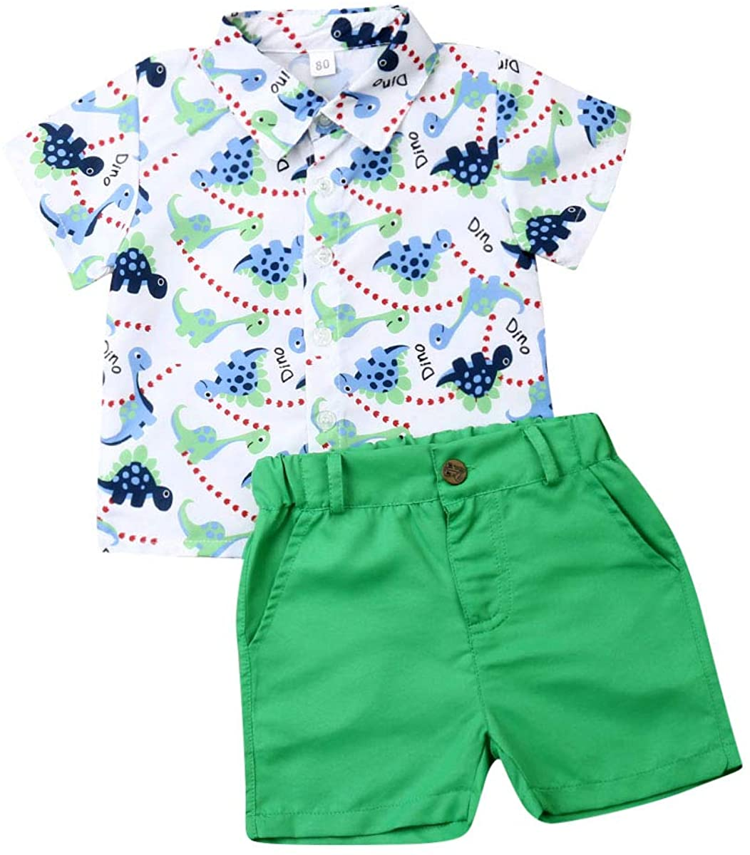 Toddler Baby Boy Summer Clothes Cartoon Dinosaur Print Short Sleeves Button Down Shirt Top+Solid Green Shorts 2PCS Outfit Set