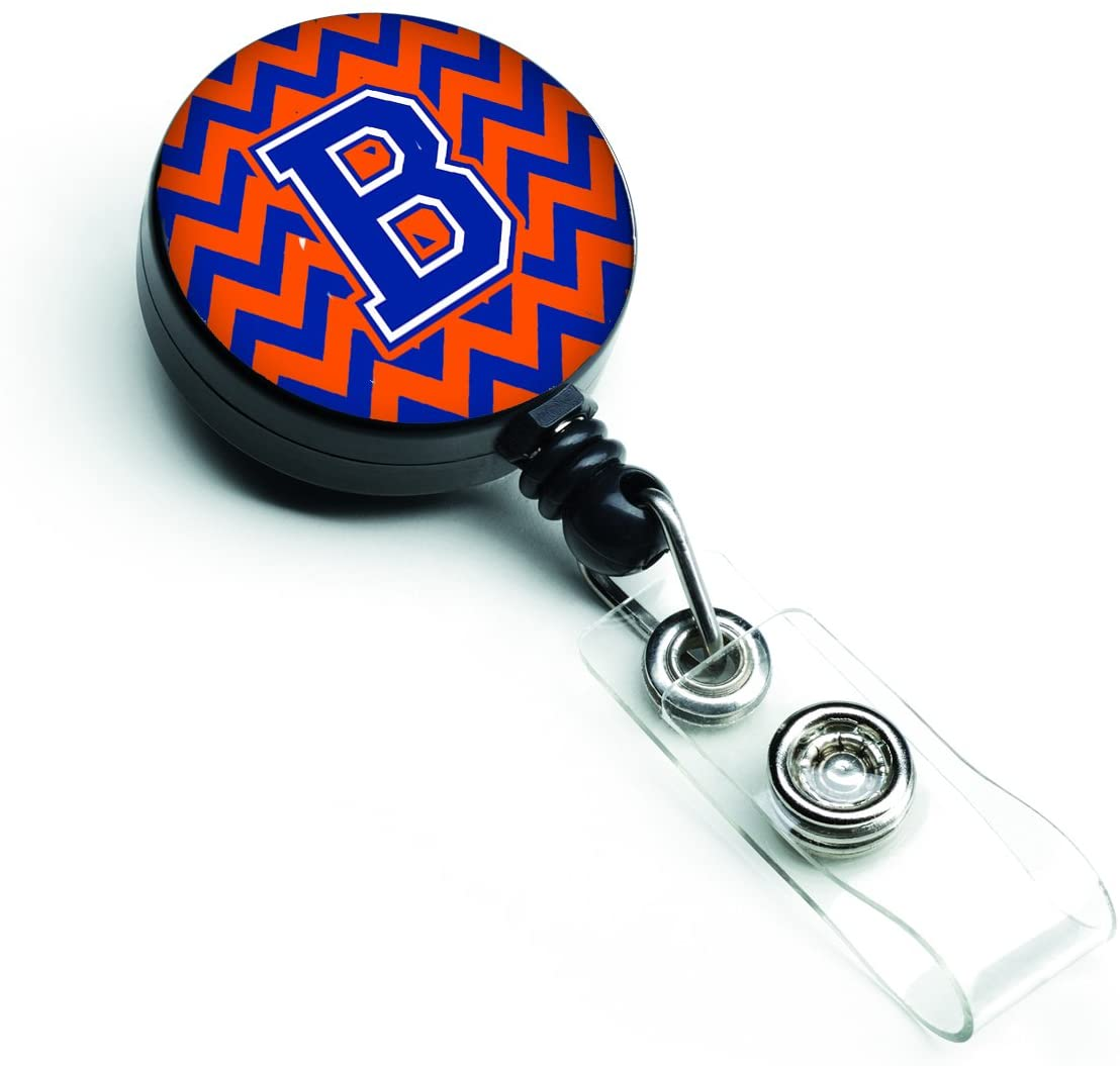 Caroline's Treasures CJ1044-BBR Letter B Chevron Orange & Blue Retractable Badge Reel, Multicolor