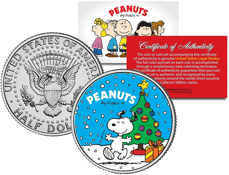 MKMT Peanuts Gang Snoopy Christmas Tree JFK Kennedy Half Dollar! COA & Display Stand!