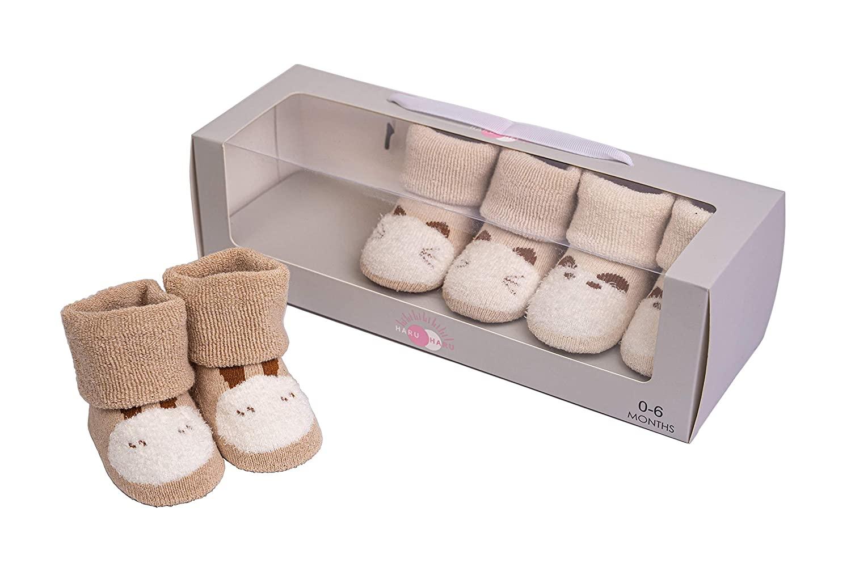 HaruHaru Newborn Baby Socks Gift Set, Unisex 0-6 Months Premium 3 Pairs of Organic Cotton Socks, Baby Shower, Holiday Gift
