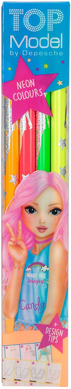 Depesche 6399 Topmodel Neon Pencils – Set of 4, Multi-Colour