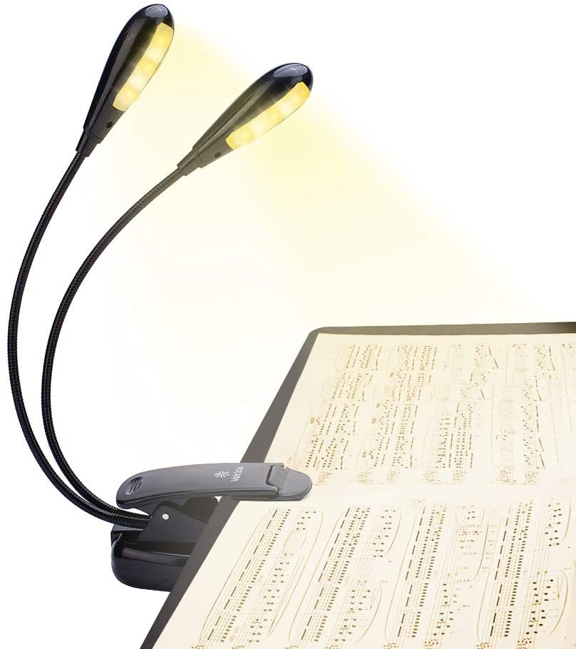 10 LED Eye-Cared Music Stand Light, 3 Brightness×3 Color Book Light, Clip On Bed Reading Book Lamp at Night, USB and AAA Battery Operated, Perfect for Bookworms, Kids & Music/Piano Players.