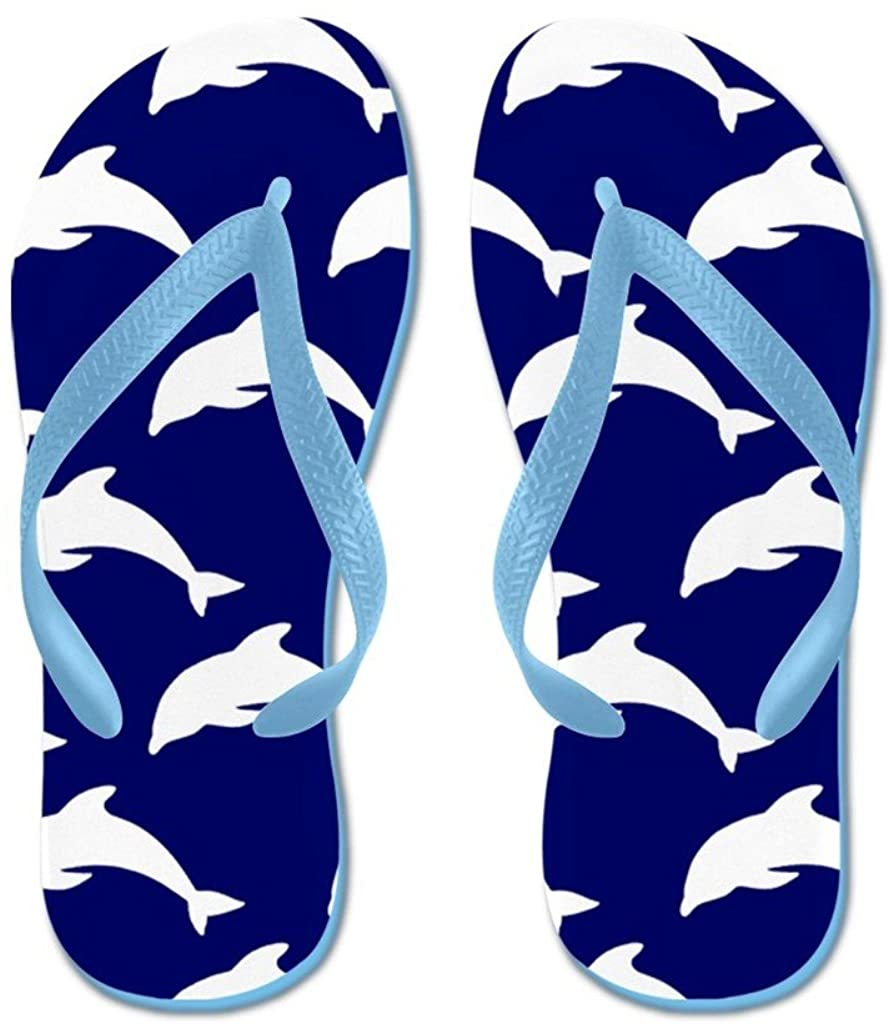 Lplpol Navy Blue Dolphins Flip Flops for Kids and Adult Unisex Beach Sandals Pool Shoes Party Slippers