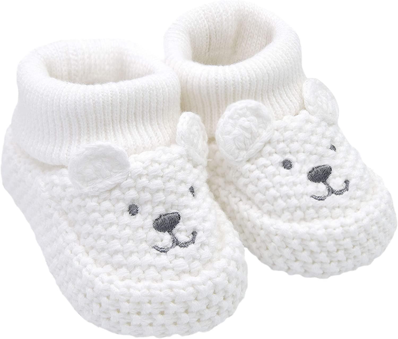Carters Boys Neutral Soft Sole Bear Knit Bootie-Newborn Slipper