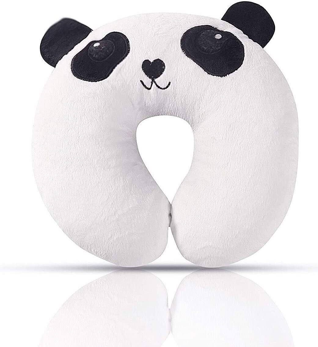 Kids Neck Pillow Panda, Soft Plush, Stretchy Animal Travel Pillow, Neck Head Chin Support Pillow And Toddler Car Seat Pillow, Comfortable In any Sitting Position For Airplane, Train, Car Sleeping