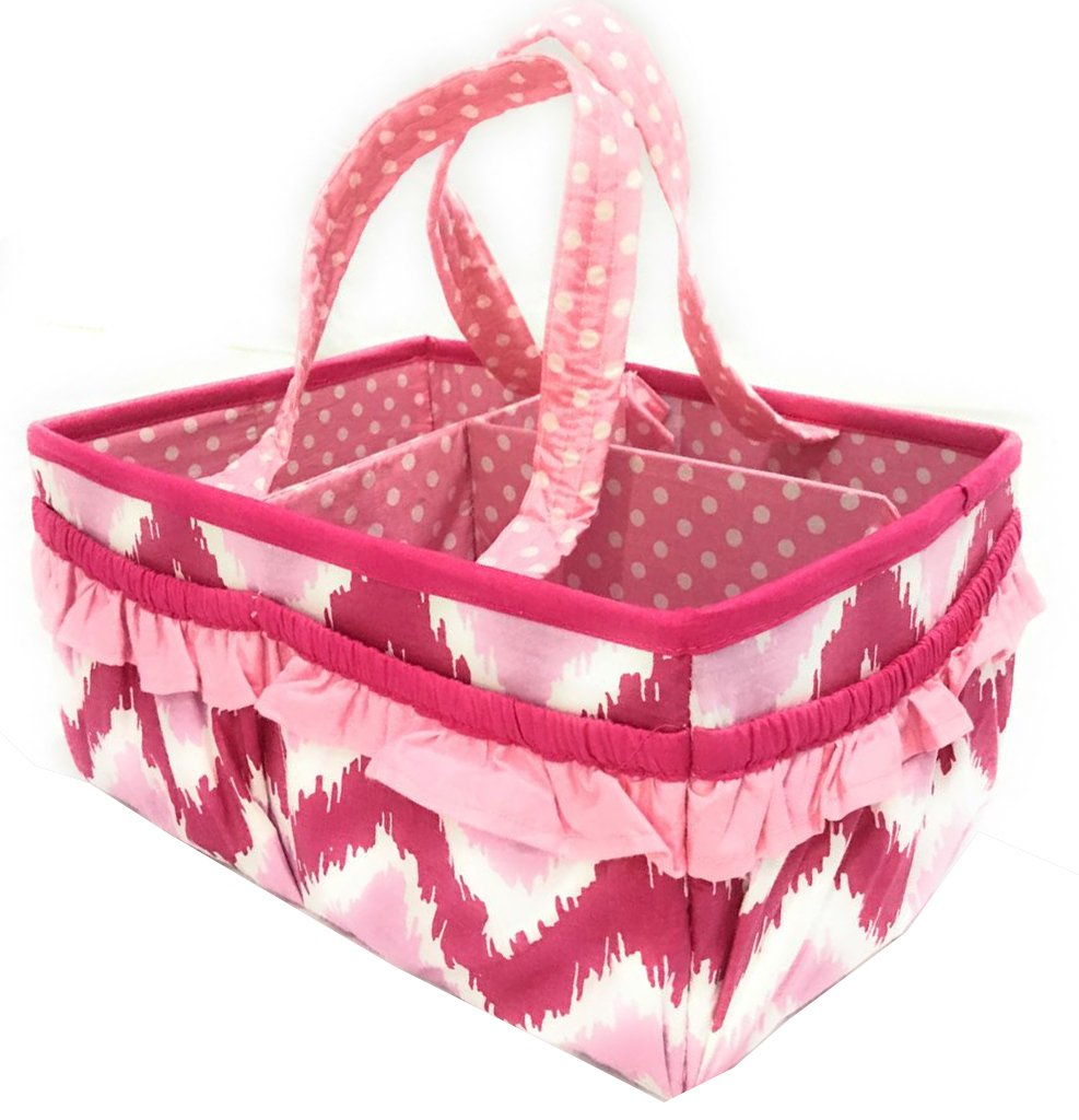 Bacati Mix and Match Nursery Fabric Storage Caddy with Handles, Pink