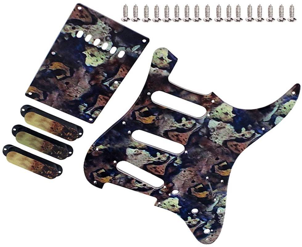 DishyKooker Guitar Pickguard + Back Plate + Pickup Cover+ Screws Set for Electric Guitar Parts