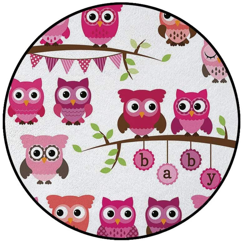 3' Round Area Rugs,Girl Baby Shower Themed Owls and Branches Adorable Cartoon Animal Characters Super Soft Washable Carpet for Living Room Bedroom Home Children Playroom Nursery, Purple Pink Brown