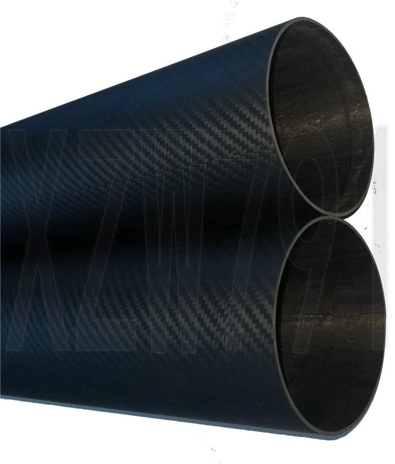OD 64mm x ID 60mm x 500mm Long Roll Wrapped Carbon Fiber Tube 3K Matt (2pcs 64x60x500mm Matte)