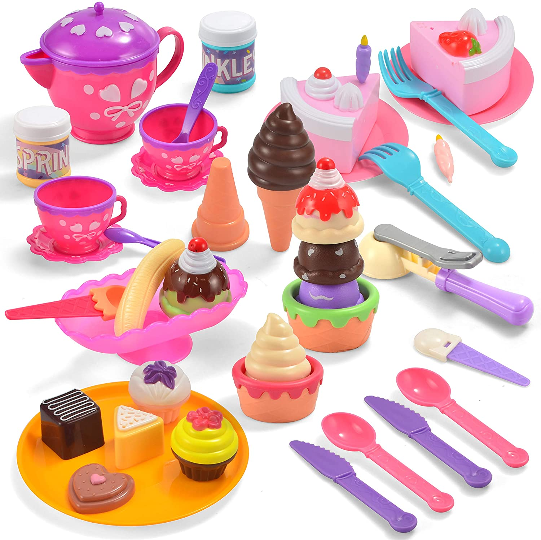 JOYIN 44 Pieces Sweet Treats Desserts Ice Cream Parlor Pretend Play Kitchen Food Toy Set for Toddler Kids