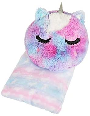 Love 2 Design Unicorn Tie Dye Plush Pillow and Butter Soft Plush Throw Set - 2 Piece Set