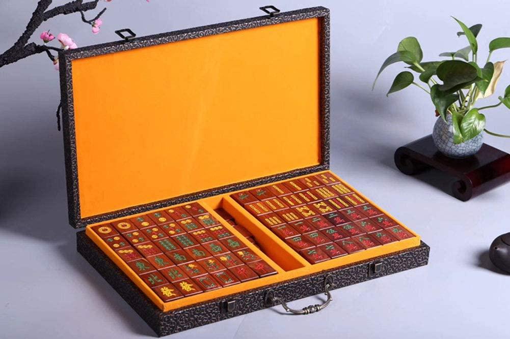 Mah Jong Mahjong Jongg Majong Household Handcuffs Zambian Rosewood Solid Wood 40mm Mahjong 144 Cards Portable Family Leisure Chess Business Crafts