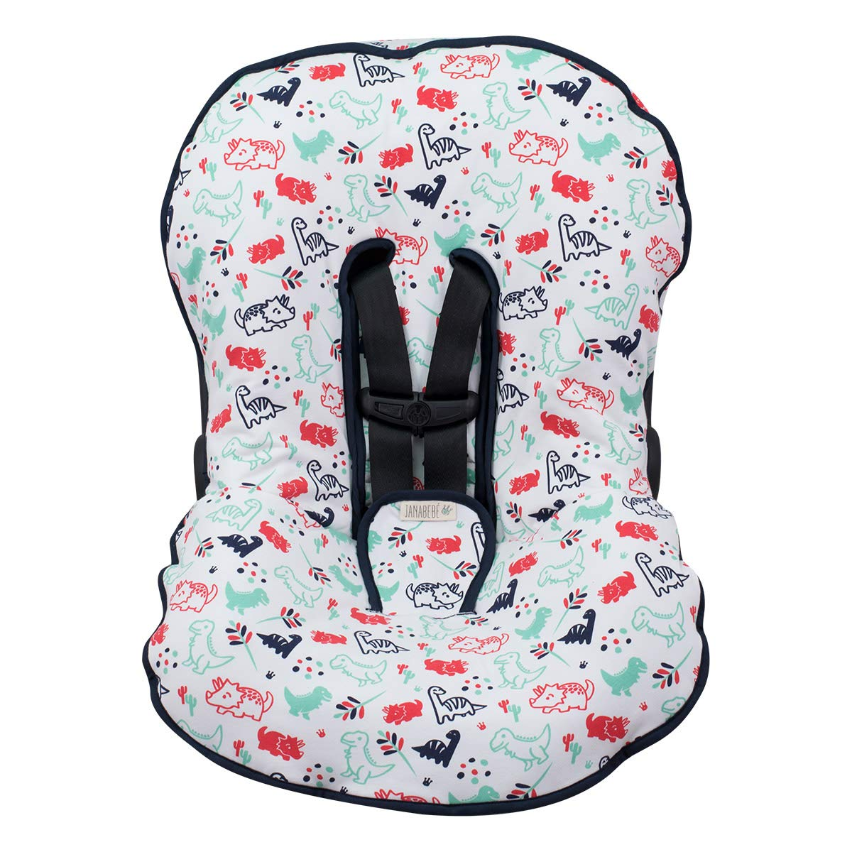 JANABEBÉ Universal Padded Cover Liner for Baby Carriers and CAR SEAT (Compatible with Maxi COSI MICO, CHICCO, BRITAX, ETC) (Dino Party)