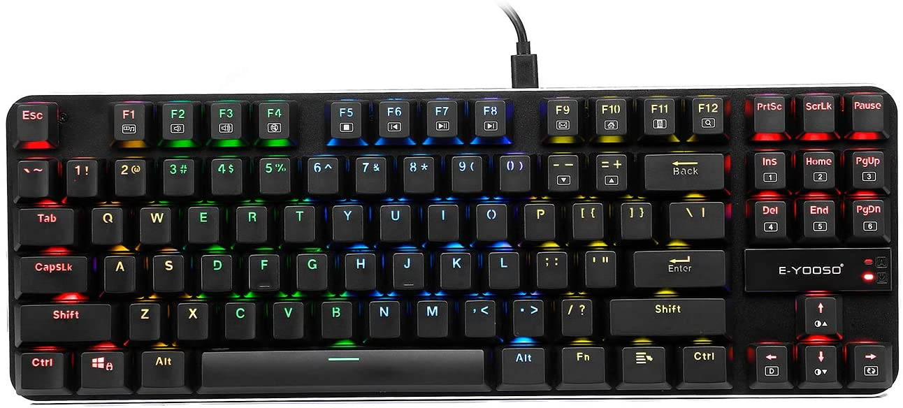 K630 Mechanical Keyboard RGB Backlit Wired Gaming Keyboard Extra-Thin & Light, Latest Low Profile Blue Switches, 87 Keys N-Key Rollover (Black)
