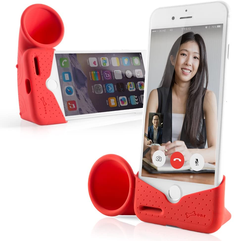 Bone Collection Acoustic Sound Amplifier Phone Stand Speaker Desktop Dock Cradle for iPhone 11 & 11 Pro Max, XR & XS Max, iPhone 8 7 6 6s Plus, Horn Stand Series - Red (Large)