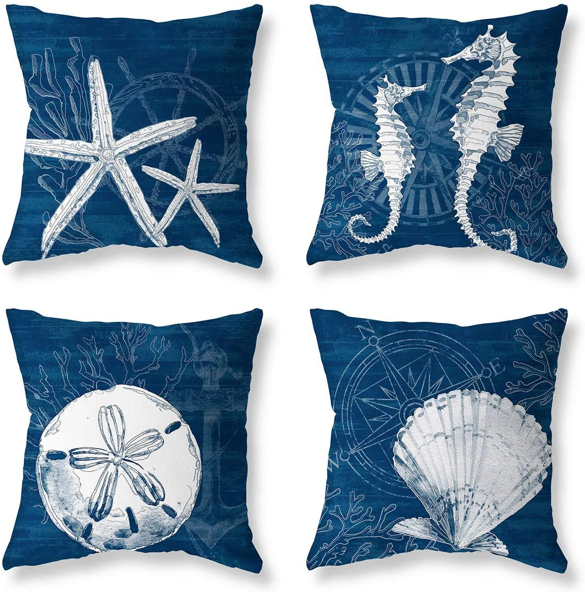 LuckyCow Ocean Nautical Theme Decor Throw Pillow Case Starfish Shell Conch Outdoor Decorative Cushion Covers 18 x 18 Inch, 4 Pack (Blue-1) (Green-1)