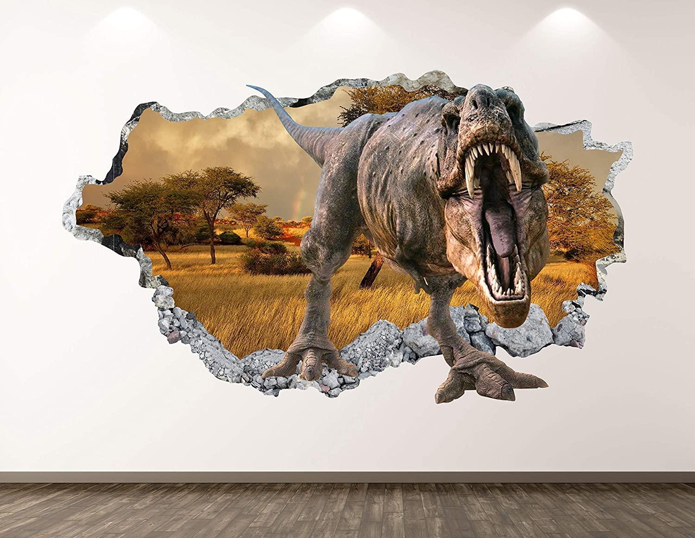West Mountain Wild Dinosaur Wall Decal Art Decor 3D Smashed T-Rex Sticker Poster Kids Room Mural Custom Gift BL336 (42