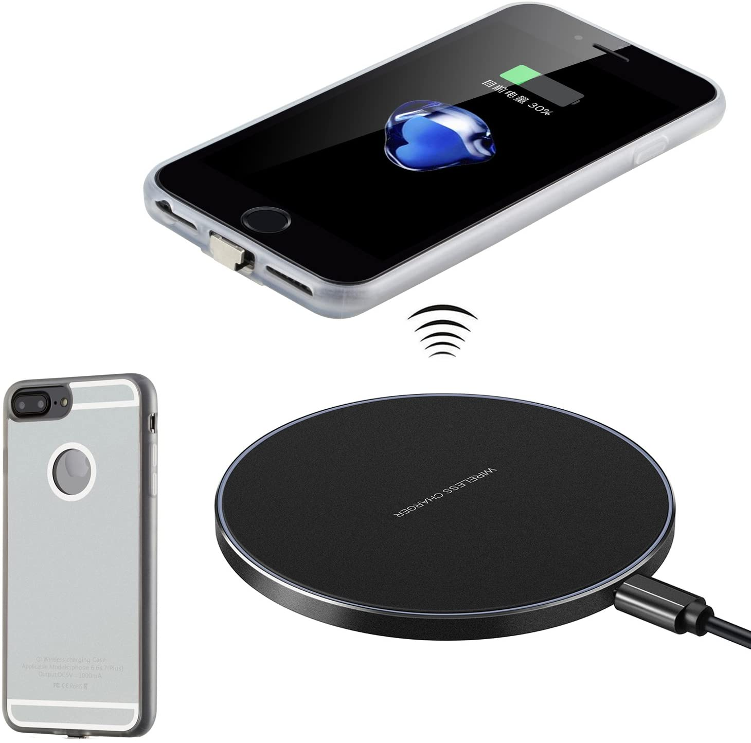 Antye Qi Wireless Charger Kit for iPhone 7 Plus, Including Wireless Charging Receiver Case TPU Back Cover and Aluminum Wireless Charging Pad Base