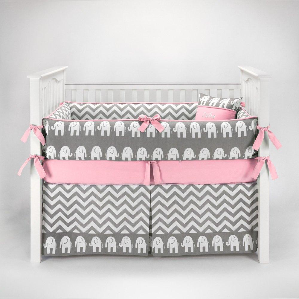 Elephant Chevron Zig Zag Gray & Pink Baby Bedding - 5pc Crib Set by Sofia Bedding
