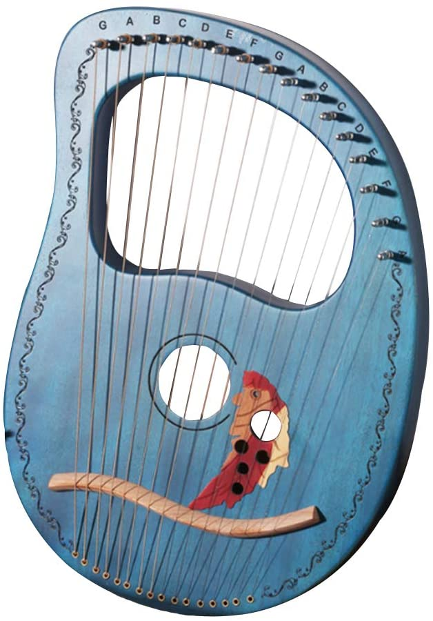 Lyre Harp Chinese Harp 16 Metal String Harp Heptachord Solidwood Mahogany Lye Harp with Tuning Wrench Professional Gift for Music Lovers Beginners Kids Adult