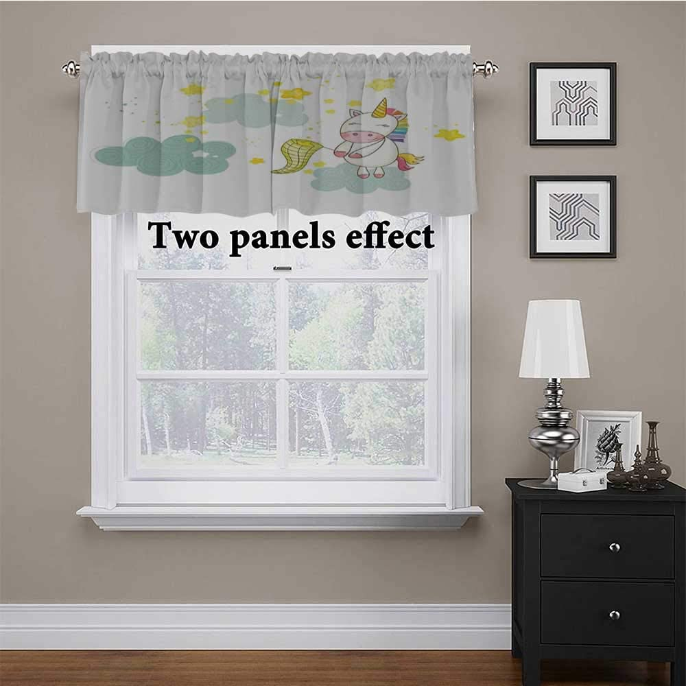 Window Curtain Valance Baby Mystic Unicorn Girl Sitting on Fluffy Clouds and Hunting Nursery Image Print Short Straight Drape Valance for Kids Girl Baby Nursery Bedroom Green Yellow 54 x 12 Inch