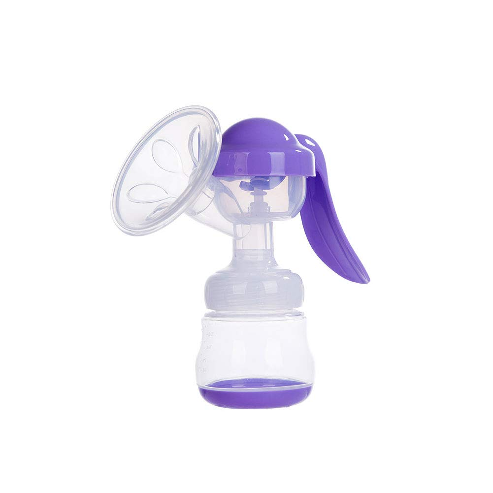 Purple Manual Breast Pump with Lid Bpa-Free Breastpump Materials for Hands Free Breast Feeding(1set)