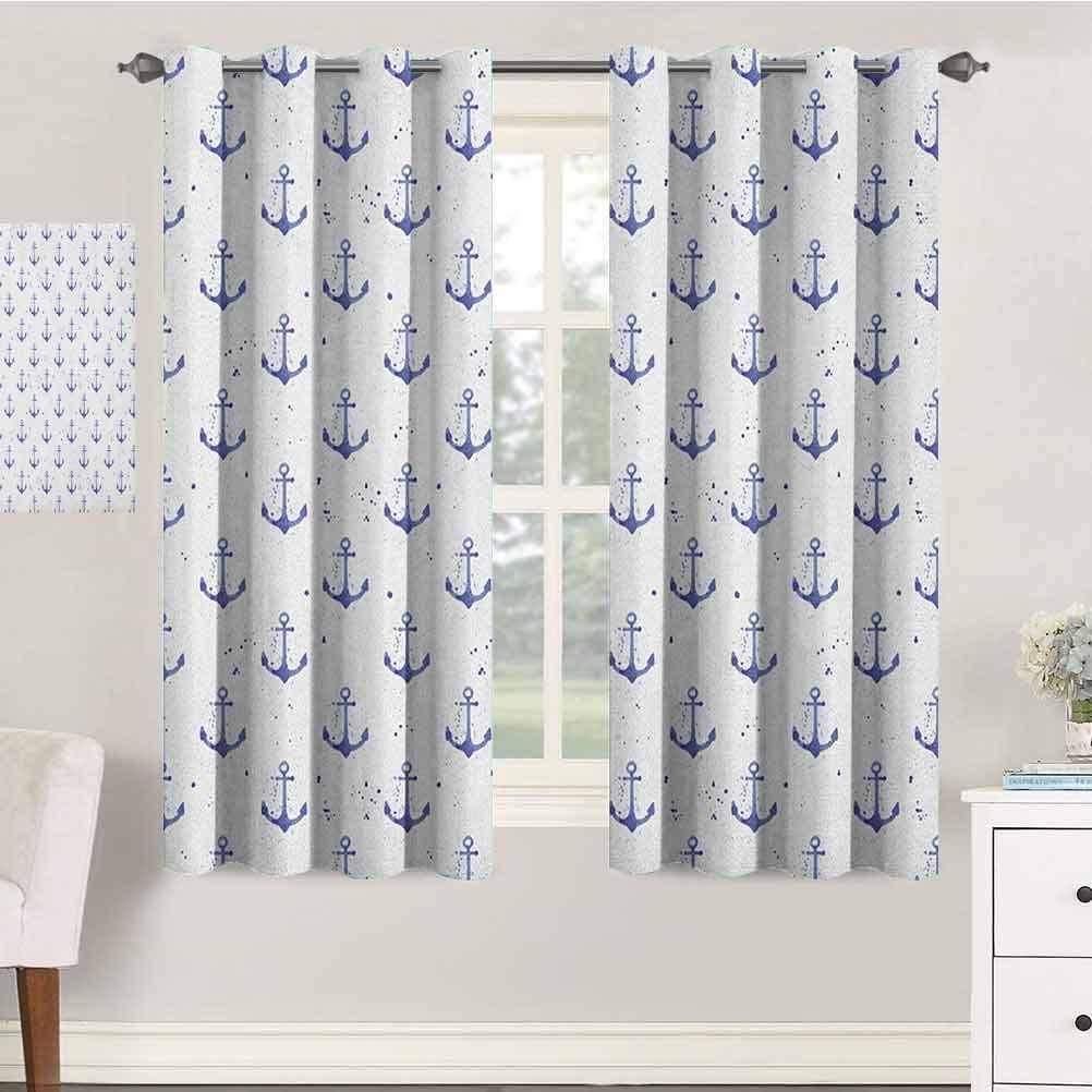 jinguizi Anchor Nursery/Baby Care Curtains 42X84 Inches Aquarelle Anchor Motifs with Paint Splashes Nautical Monochrome Design Indo Treatment Panes