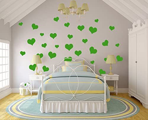 N.SunForest 40 Lime-Tree Green Love Hearts Vinyl Wall Decals Removable DIY D¨¦cor Stickers Baby Nursery Wall Art Mural