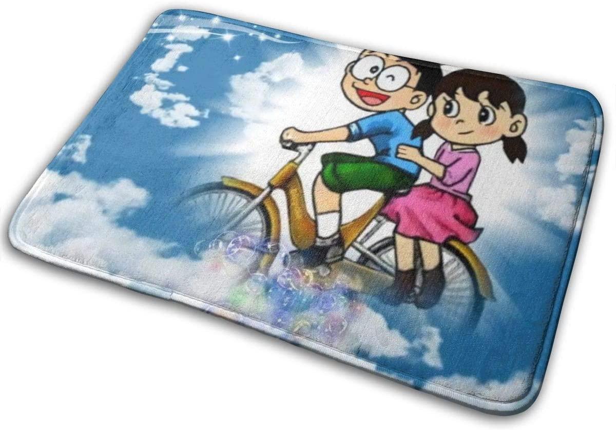 Anti-Skid Floor Mat Flannel Cool Ultra Soft Doraemon Shizuka and Nobita Cartoon Area Rugs Floor Ultra Absorbent Carpet Rugs for Living Room Outdoor Door Welcome