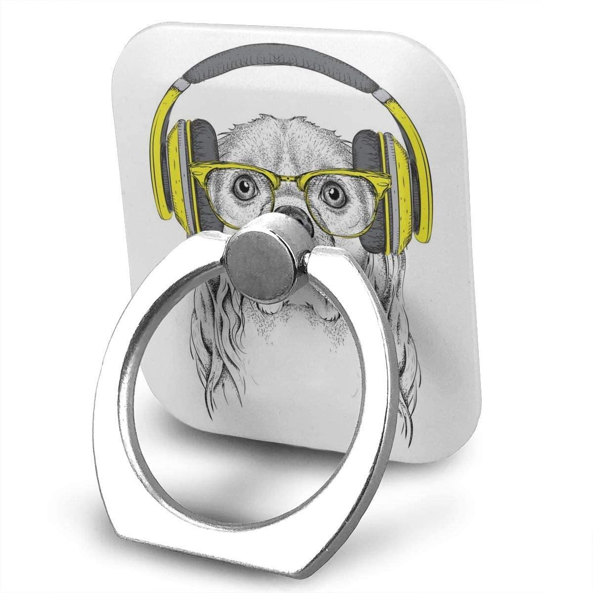 SLHFPX Cell Phone Ring Holder Stand Hip-Hop Dj Cocker Spaniel Dog in Glasses, Headphones Adjustable 360°Rotation Square Universal Finger Grip Loop Silver Metal Phone Holder for Women Kids Men Ladies