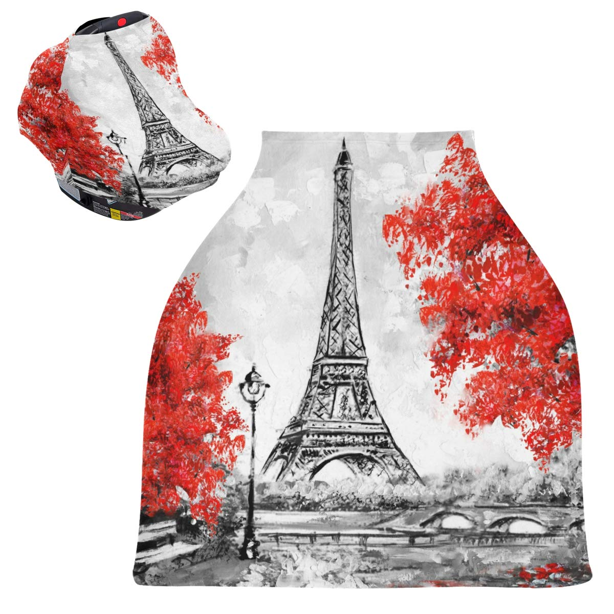 Stretchy Baby Car Seat Canopy - Paris European Eiffel Tower Infant Stroller Cover Multi Use Carseat Canopy Nursing Cover for Girl