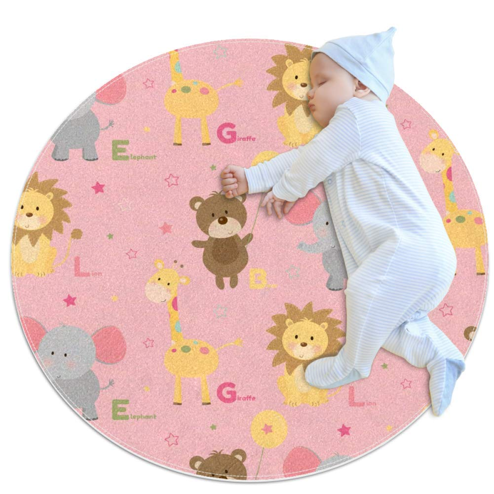 Carpet Lion Elephant Pink Nursery Round Rug for Kids Room Soft and Smooth Suede Surface Non-Slip Castle Tent Game mat Best Gift for Your Kids 2feet 3.5inch