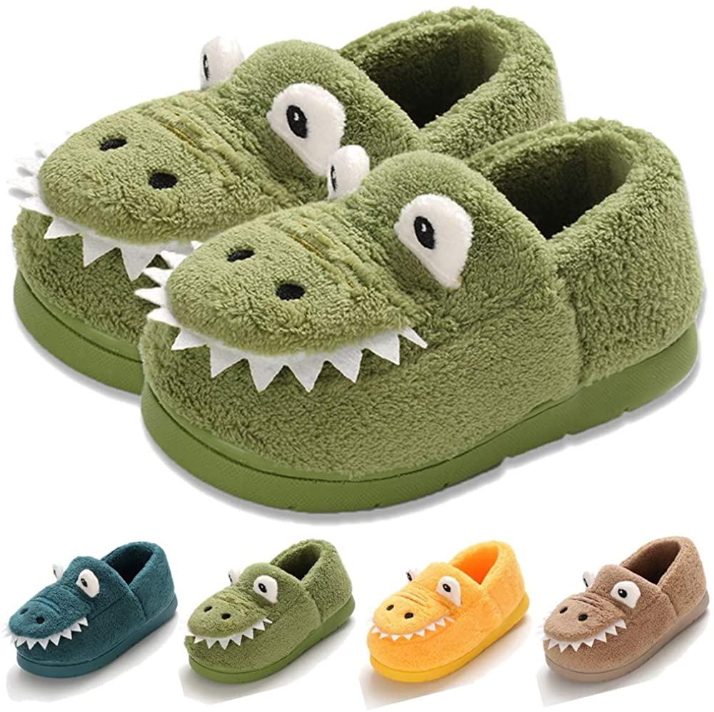 COSANKIM Baby Toddler Boys Girls House Slipper Non Skid Fuzzy Cartoon Dinosaur Kids Indoor Bedroom Shoes