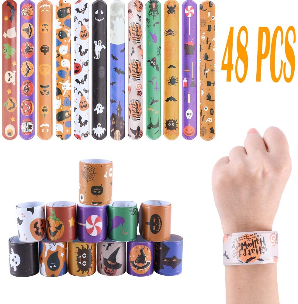 Halloween Slap Bracelets,48 PCS Snap Bracelets Bulk with Spider Pumpkin Ghost Animal Print Craft for Halloween Party Birthday Gifts