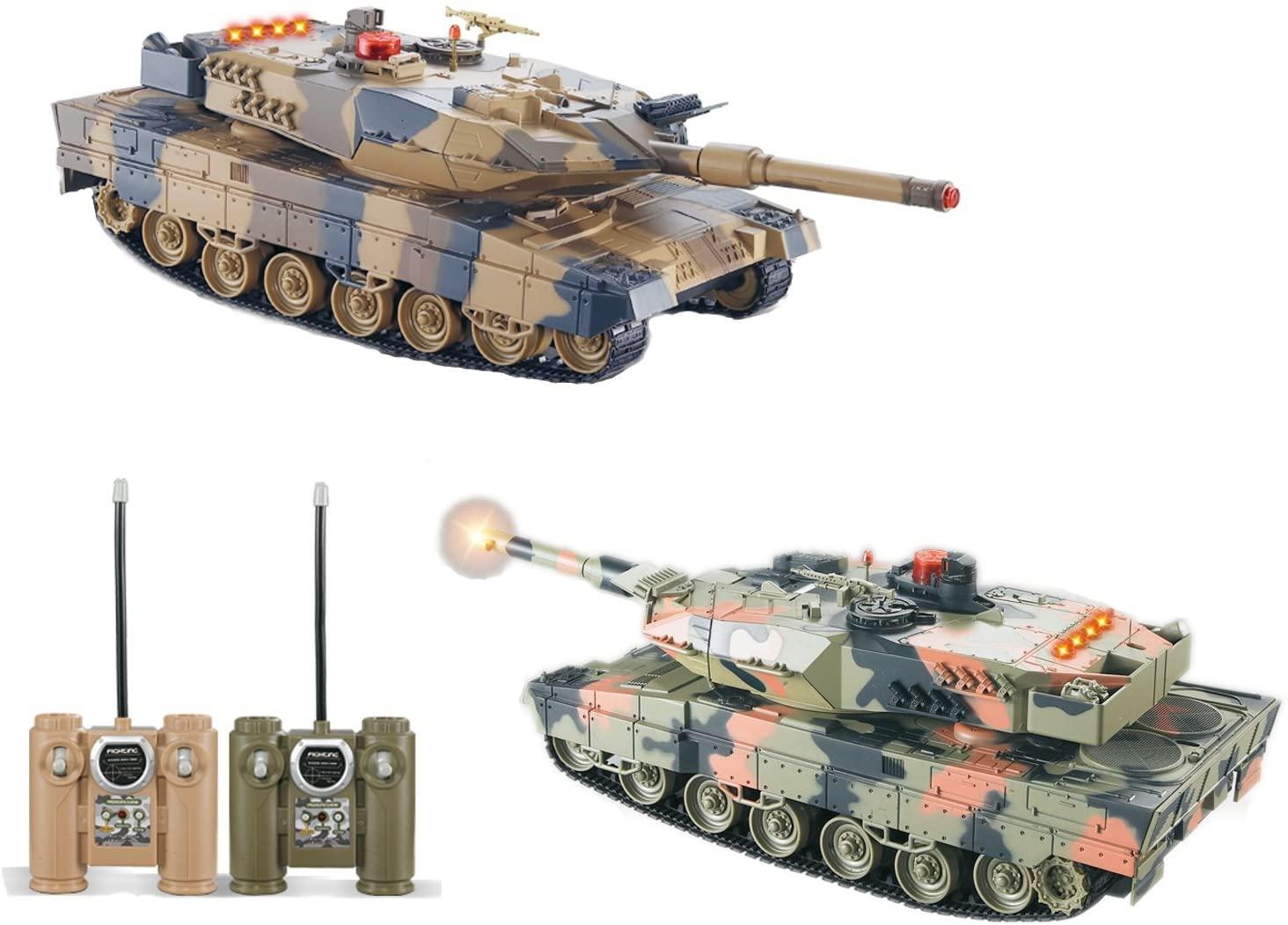 2-Set Main Battle Tanks RC 1/24 Infrared LED Tank R/C US MBT