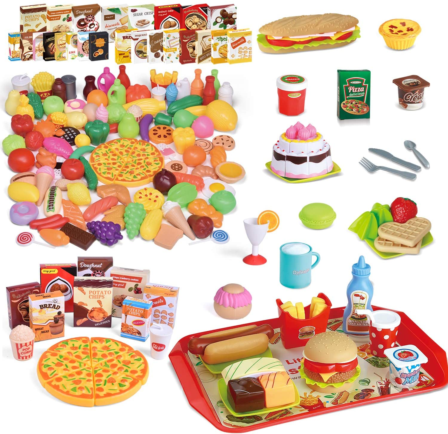 FUN LITTLE TOYS 177 PCs Pretend Play Food with Cutting Food and Accessory Toy Set
