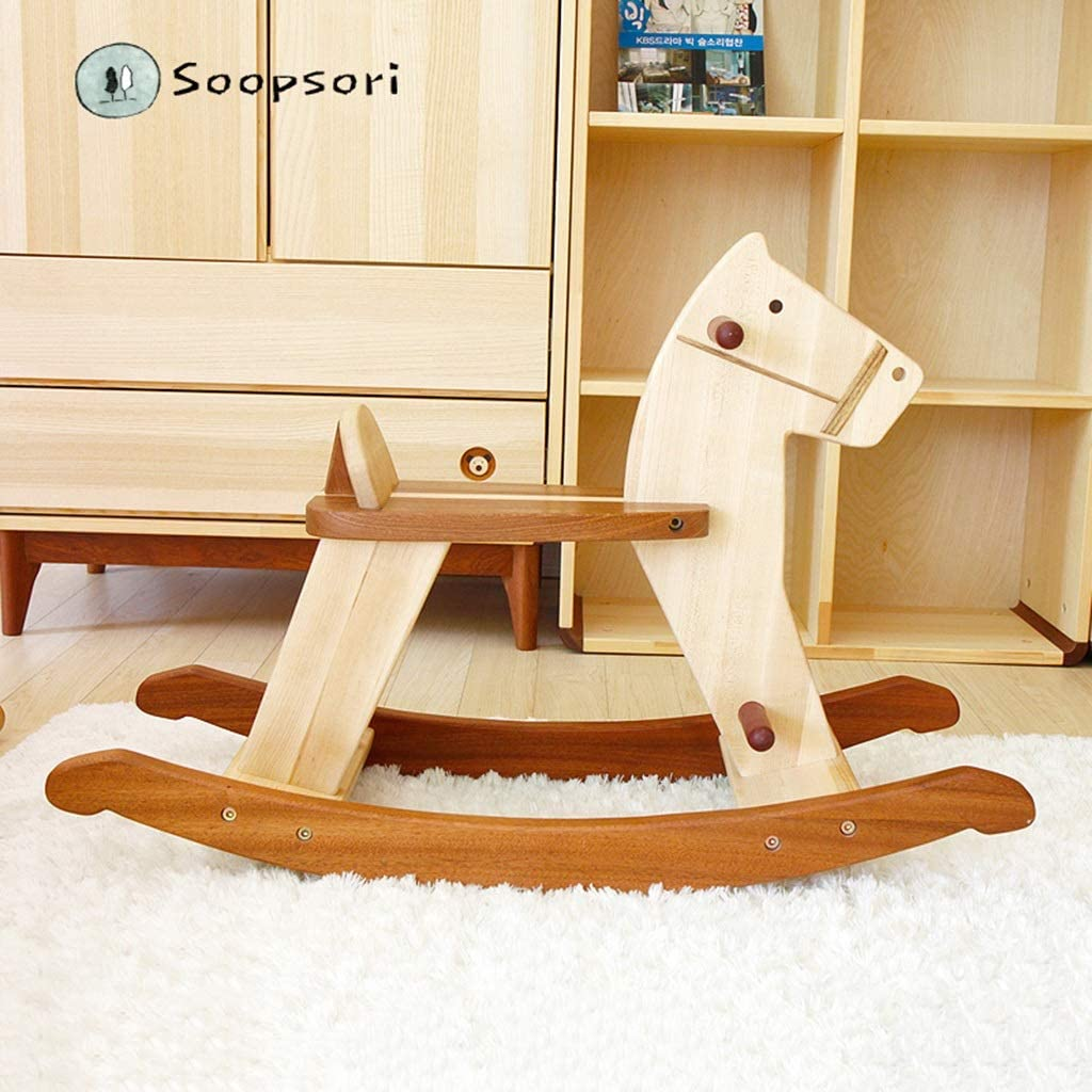 RXY-Rocking chair Trojan Horse Rocking Horse Rocking Horse Rocking Chair Solid Wood 1-2 Years Old 3-6 Years Old Baby Baby Toys
