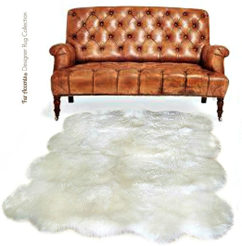 Plush Faux Fur Sheepskin Throw Rug - Shaggy Sexto Multi Pelt - Shag - Soft Flokati - Bedroom - Nursery - Lining Room - Den - Off White - Soft Ultra Suede Backing(5'x8', Off White)