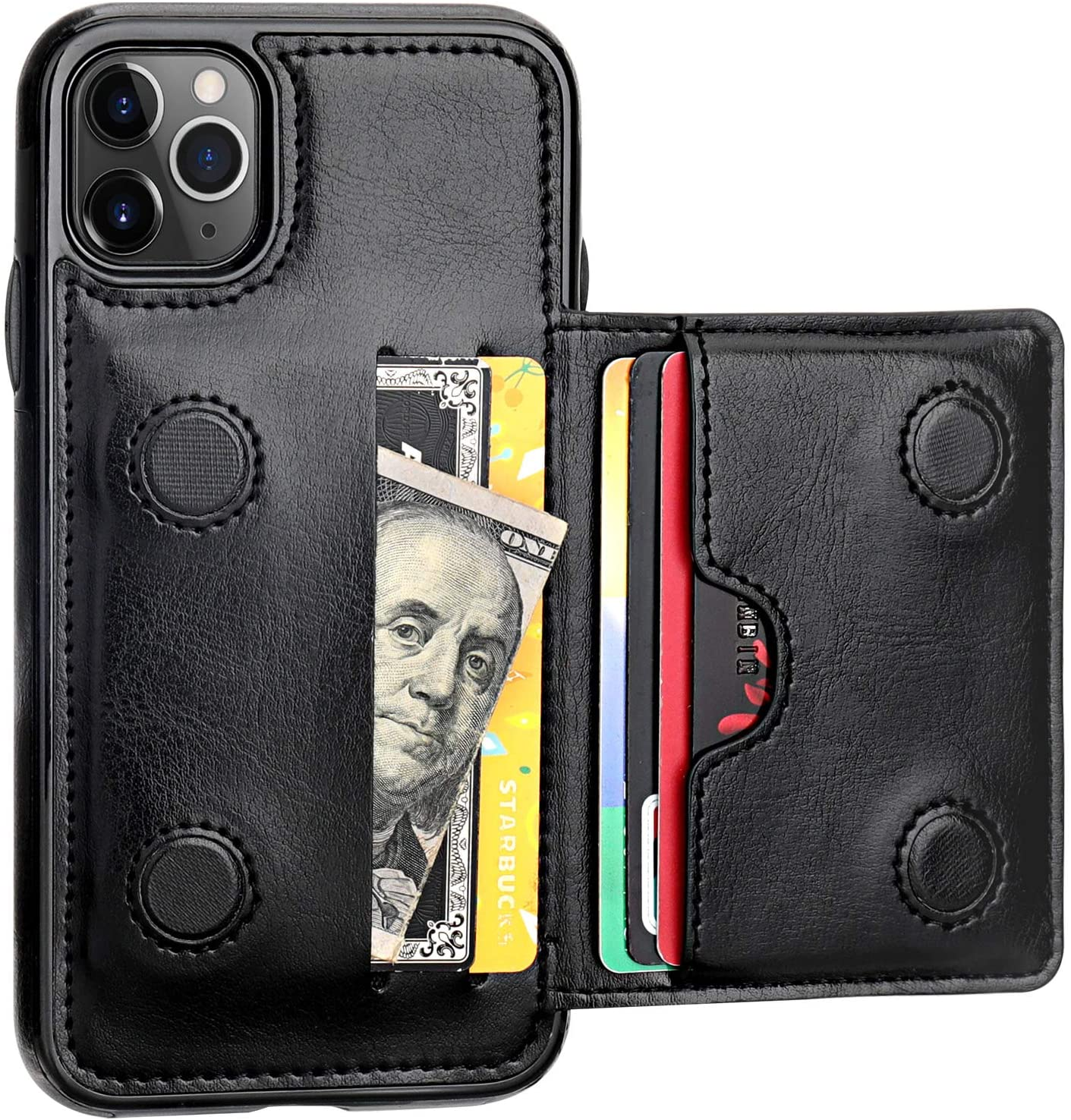 KIHUWEY iPhone 11 Pro Wallet Case Credit Card Holder, Premium Leather Kickstand Durable Shockproof Protective Cover iPhone 11 Pro 5.8 Inch(Black)