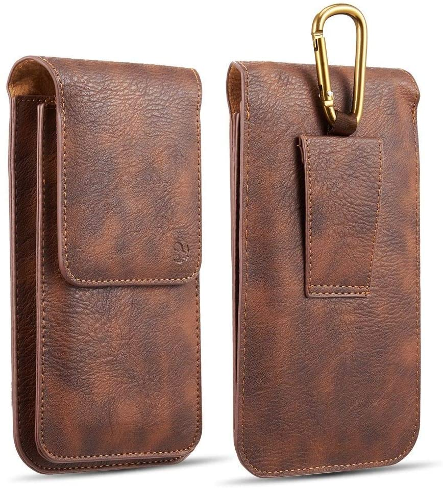 Luxmo LG Stylo 6 Dual Series Belt Holster: Vertical PU Leather Double Phone Holder Wallet Carrying Pouch Case (Holds 2 Phones) with Hook, Belt Loop and Atom Wipe - Brown