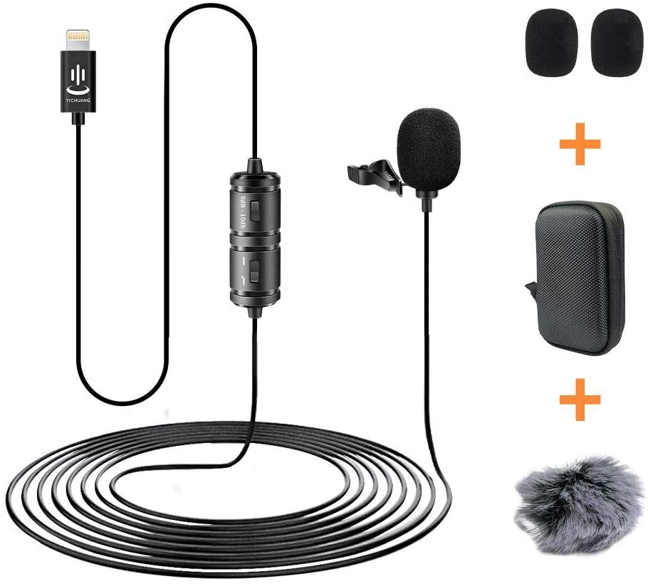 YICHUANG Professional Lavalier Microphone for iPhone X Xr Xs 8 8plus 7 7plus 6 6s 6plus,iPad,Lavalier Condenser Microphone with Furry WindMuff for YouTube Vlogging Interview Video Recording