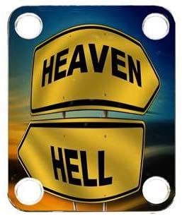 Custom Graphical Guitar Neck Plate Neckplate Heaven Or Hell